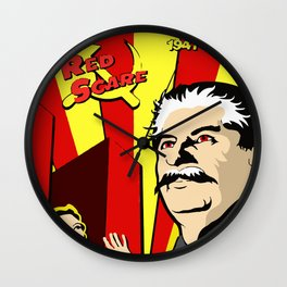 Stalin portrait red scare soviet union poster Wall Clock
