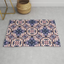 CASTLE warm beige earth tone with periwinkle blue details Rug