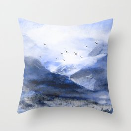 Blue Mountain Throw Pillow