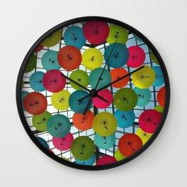 Umbrellas In The Sky Wall Clock