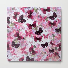 Rose pink lavender floral collage whimsical butterfly Metal Print