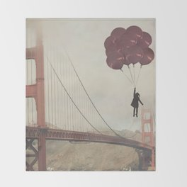 Floating over the Golden Gate Throw Blanket