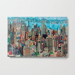 Stressless - New York City Skyline - Empire State Building Photograph on Canvas by Serge Mendjisky Metal Print