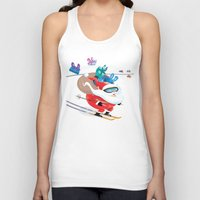 skiing Tank Tops featuring Santa Skiing 1 by drawgood