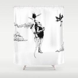 Tiki mask jetpack Shower Curtain