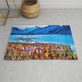 City of Mountains Landscape Painting by Jeanpaul Ferro Rug