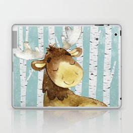 Winter Woodland Friends Deer Moose Snowy Forest Illustration Laptop & iPad Skin