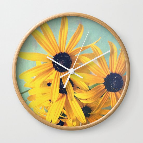 Sweet Yellow Flowers Wall Clock