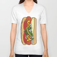hot dog V-neck T-shirts featuring HOT DOG by RUMOKO x Vintage Cheddar