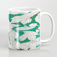 peonies Mugs featuring green peonies by Marcella Wylie