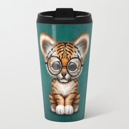 Cute Baby Tiger Cub Wearing Eye Glasses on Teal Blue Travel Mug