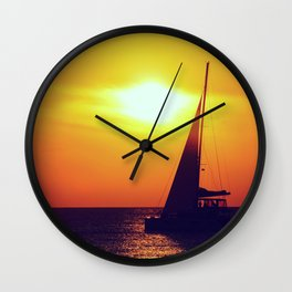 Sunset sailing - Life is better at the sea Wall Clock