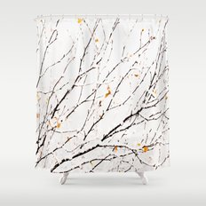 Snowy birch twigs and leaves Shower Curtain