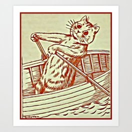 Cat Row Boating  - Louis Wain Cats Art Print