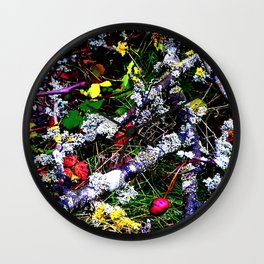 Berries Bark Leaves and Lichen  Wall Clock