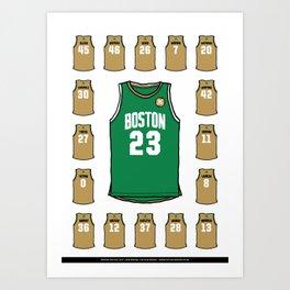Celtics Roster White Art Print