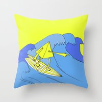 surfer Throw Pillows featuring Surfer by melanie johnsson