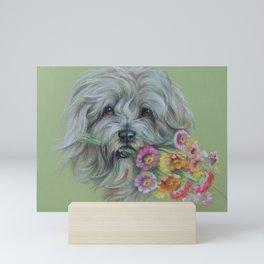 Sheperd dog with flowers Pastel drawing Mini Art Print