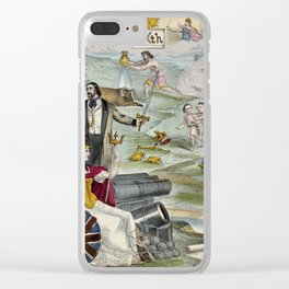 Raphael's Prophetic Almanack: a seated Napoleon III with a smiling Queen Victoria, a woman pursued b Clear iPhone Case