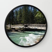 fifth element Wall Clocks featuring Fifth Bridge by Katherine Auty