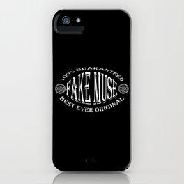 Fake Muse badge (white on black) iPhone Case
