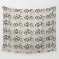 bikes Wall Tapestries featuring Bikes Patterm by Rafael Matos