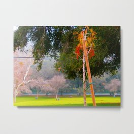 Green pastures and trees photo Metal Print