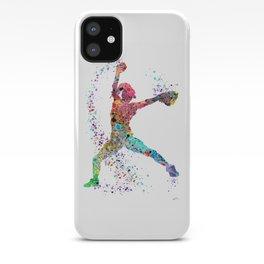 Baseball Softball Pitcher Watercolor Print Art Print Girl's Softball Painting iPhone Case