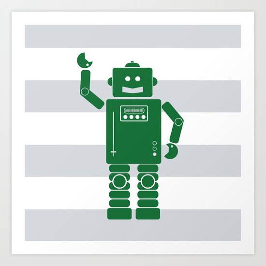 Green Robot Art Print