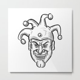 Crazy Medieval Court Jester Drawing Metal Print