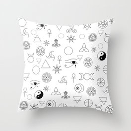 Witchcraft symbols Throw Pillow