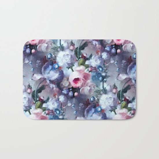 Blue and pink floral pattern Bath Mat