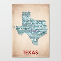 texas Canvas Prints featuring Texas by Wordmaps