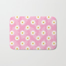 Daisies On Pink Floral Pattern Bath Mat