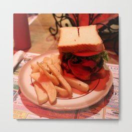 Burger with Fries Metal Print