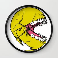 pac man Wall Clocks featuring Ancient Pac-man by Sauce Designs