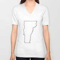 vermont V-neck T-shirts featuring Vermont by mrTidwell