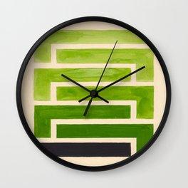 Sap Green Geometric Watercolor Painting Wall Clock