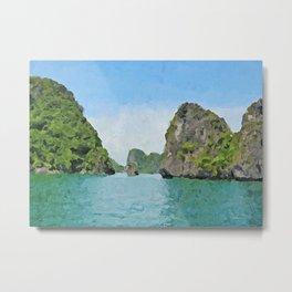 Hạ Long Bay - Acrylic & Palette Knife Paint on Canvas Metal Print