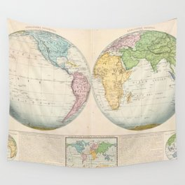 Vintage Map of The World (1862) 2 Wall Tapestry