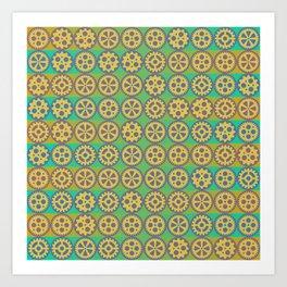 Gearwheels pattern Art Print