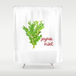 Joyeux  Nöel Christmas Boxwood Shower Curtain