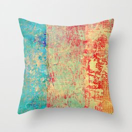 Brilliant Encounter, Abstract Art Turquoise Red Throw Pillow