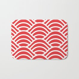 Red japanese pattern Bath Mat
