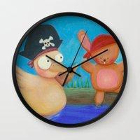 pirates Wall Clocks featuring Pirates ! by Pinkpandas