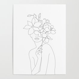 Minimal Line Art Woman with Orchids Poster