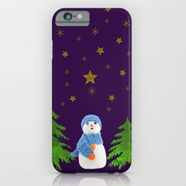 Sparkly gold stars, snowman and green tree on purple iPhone Case