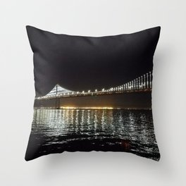 Bay Bridge Night Time Throw Pillow
