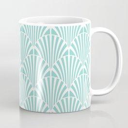 Retro Mint Green Art Deco Style Fan Pattern Coffee Mug