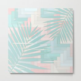 Summer Mood with Chevron and Palms Metal Print